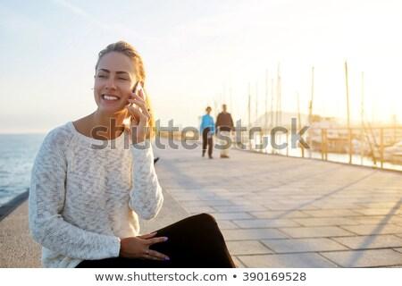 Telefone conversa ao ar livre negócio empresário terno Foto stock © photography33