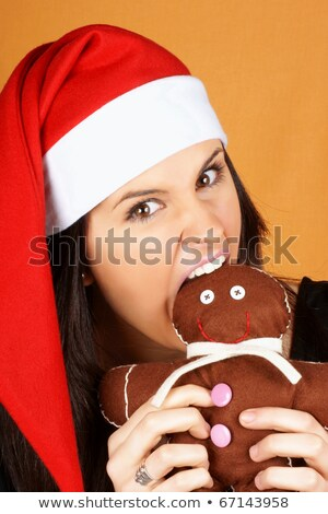 Santa Claus girl with gingerbread man puppet Stock photo © aladin66
