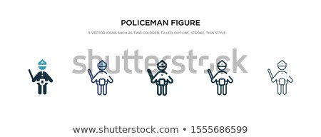 set of robber and police officer stick figures stock photo © glyph