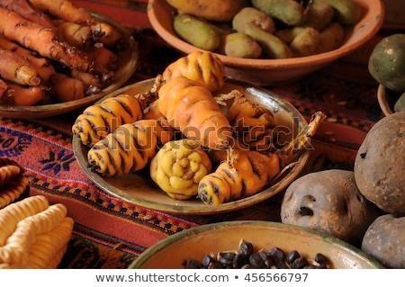 Red, white and purple peruvian potato Stock photo © bendicks