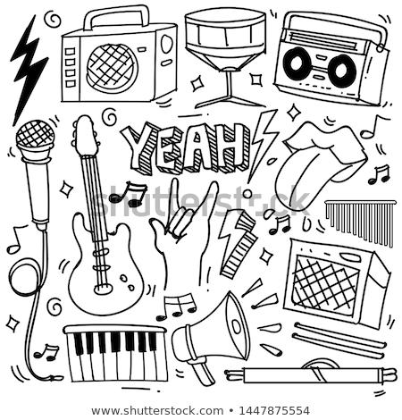 Illusztráció musical hangfalak diszkógömb grunge technológia Stock fotó © articular