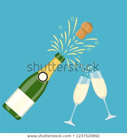 fles · champagne · wijnglazen · christmas · decoraties · geïsoleerd - stockfoto © broker