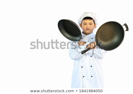 Chef holding two saucepans Stock photo © photography33