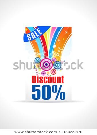 Abstrato cinqüenta por cento desconto cartão modelo Foto stock © pathakdesigner