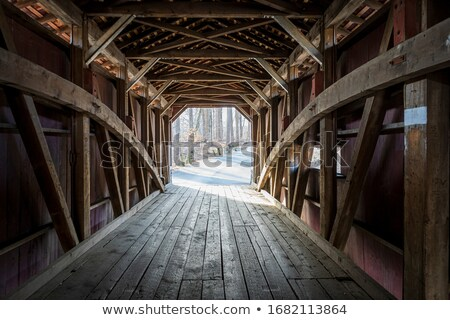 wooden covered bridge stock photo © 3523studio