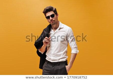 siyah · moda · adam · poz · kamera · yalıtılmış - stok fotoğraf © get4net