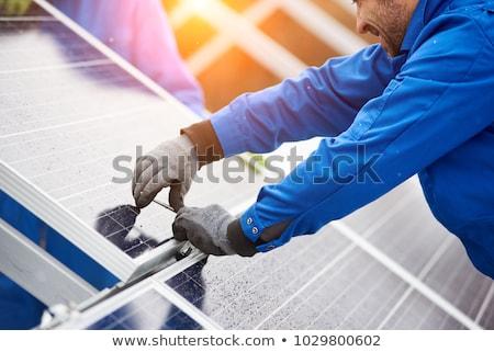 Nap fotovoltaikus panel tömb tető csempézett Stock fotó © Rob300