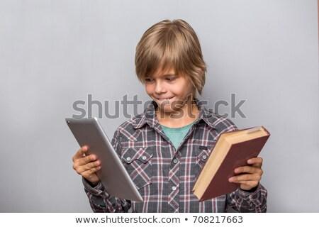 Táblagép vs könyv egy lány másik lány Stock fotó © zhekos