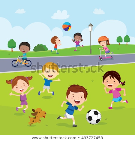 Girl playing ball in summer stock photo © carbouval