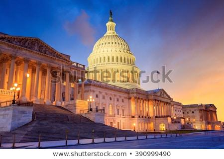 Stany Zjednoczone Capitol budynku Washington DC rano niebieski banderą Zdjęcia stock © AndreyKr