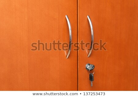 wooden office modern closet orange doors stock photo © lunamarina