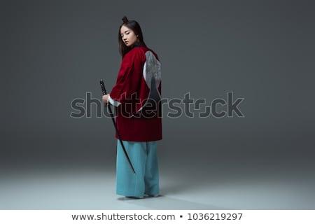 Gyönyörű japán kimonó nő szamuráj kard Stock fotó © bartekwardziak