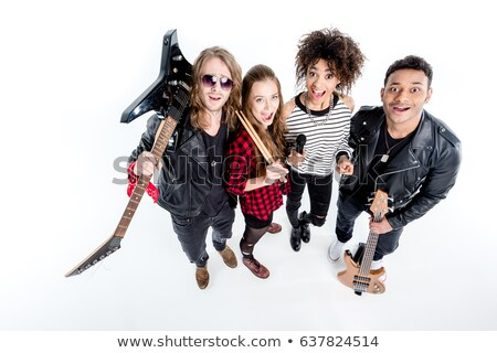Angle view of woman with bass guitar Stock photo © vetdoctor