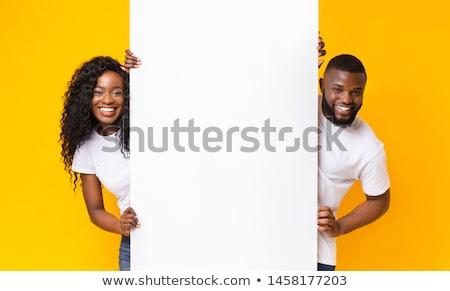 Stock fotó: Tart · óriásplakát · portré · boldog · gyönyörű · nő · üzlet