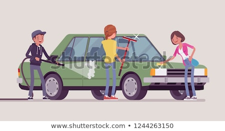 Wassen auto samen volwassen man jonge man zilver Stockfoto © TheFull360