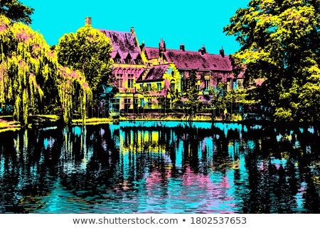 Traditional buildings and waterway, Bruges, Belgium Stock photo © jenbray