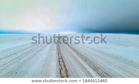 Nevasca estrada ruim visibilidade logotipo Foto stock © aetb
