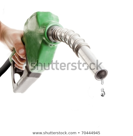 Male hand holding gas with pump isolated on white Stock photo © FrameAngel