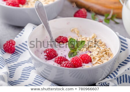 Breakfast cereal with fresh rapsberries Stock photo © raphotos