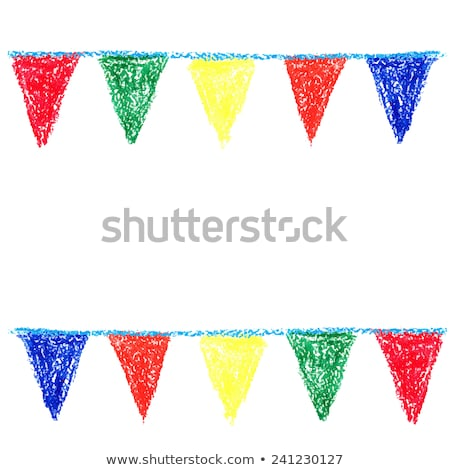 Wax crayon party bunting, isolated on white background Stock photo © gladiolus