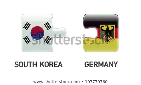 Güney Kore Almanya bayraklar bilmece vektör görüntü Stok fotoğraf © Istanbul2009