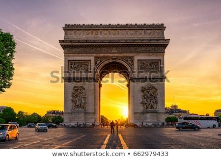 triumphal arch at dusk paris stock photo © joyr