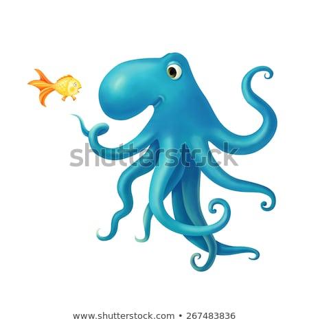 Illustrazione amichevole polpo spaventato pesce Foto d'archivio © artibelka