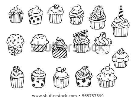 doodle cupcake Stock photo © balasoiu