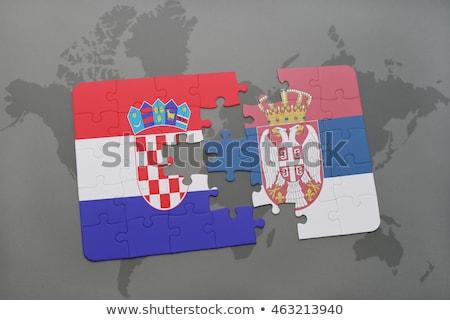 Europejski Unii Serbia flagi puzzle odizolowany Zdjęcia stock © Istanbul2009