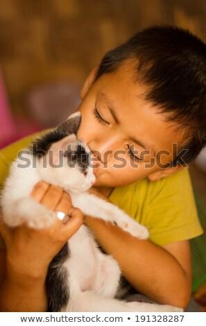 enyém · kiscica · fiú · néz · macska · haj - stock fotó © wavebreak_media