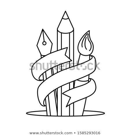 Kalem renk şerit ahşap doğum günü arka plan Stok fotoğraf © teerawit