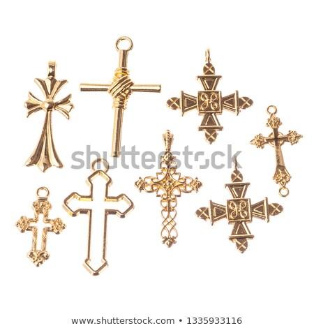 Gouden christelijke kruisen verschillend ontwerpen kerk Stockfoto © shawlinmohd