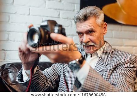 férfi · boldog · technológia · hírek · munkás · digitális - stock fotó © Paha_L