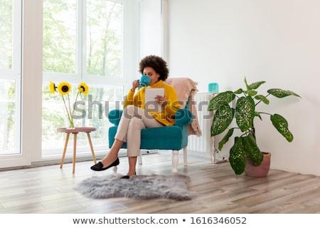 Foto stock: Mulher · sessão · poltrona · comprimido · mulher · jovem · retro