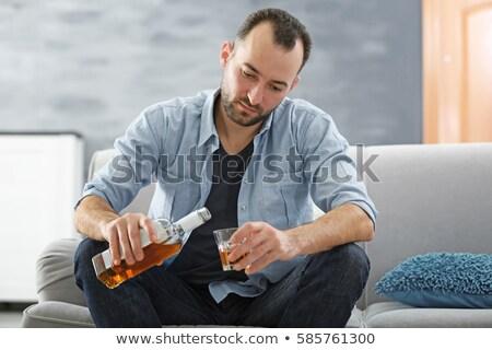 Uomo illustrazione vino bottiglia silhouette alcol Foto d'archivio © adrenalina