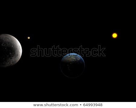 Sun system whit close look at moon and Earth  stock photo © sebikus