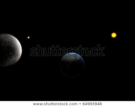 zon · sluiten · kijken · maan · aarde · computer - stockfoto © sebikus
