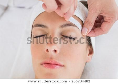 ストックフォト: 手 · ワックスがけ · 美しい · 眉 · 女性