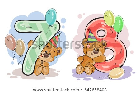 The number seven and cheerful bear Stock photo © bedlovskaya