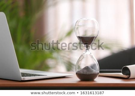 песочных часов таблице деревянный стол бизнеса текстуры Сток-фото © fuzzbones0