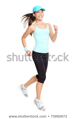 Boldog lány sapka fut illusztráció lány gyermek Stock fotó © bluering
