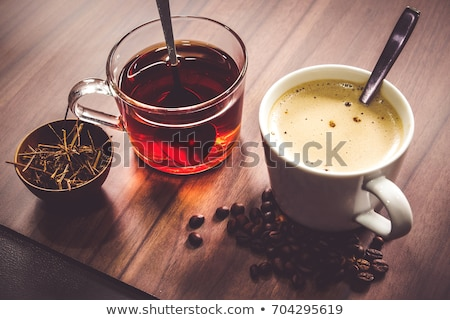 Cup of coffee and tea and black plate Stock photo © Leftleg