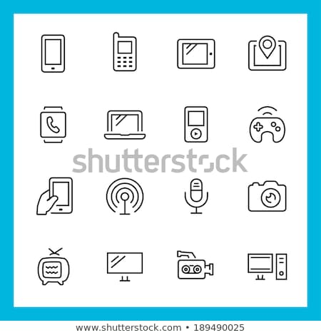 ポータブル プレーヤー 行 アイコン ベクトル 孤立した ストックフォト © RAStudio