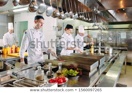 şef pişirmek deniz ürünleri soba balık mutlu Stok fotoğraf © janssenkruseproducti