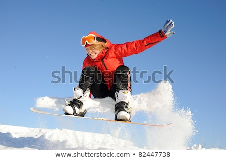 Pretty young woman with snowboard Stock photo © dash
