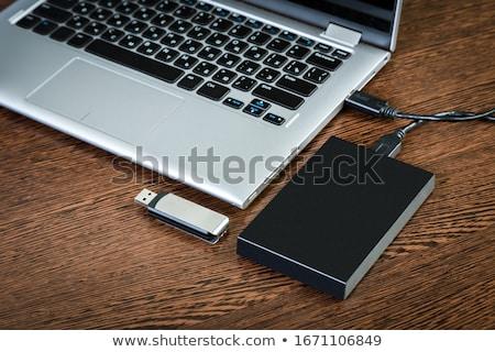 Komputera dysk twardy biały odizolowany technologii bezpieczeństwa Zdjęcia stock © OleksandrO