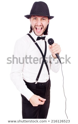 Stock photo: Funny man in karaoke club isolated on white