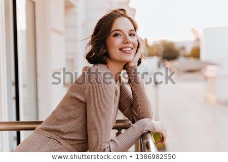 Bela mulher varanda castelo sorrir amor mulheres Foto stock © tekso