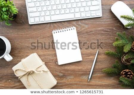 キーボード 日記 ペン ボックス 木製のテーブル インターネット ストックフォト © wavebreak_media