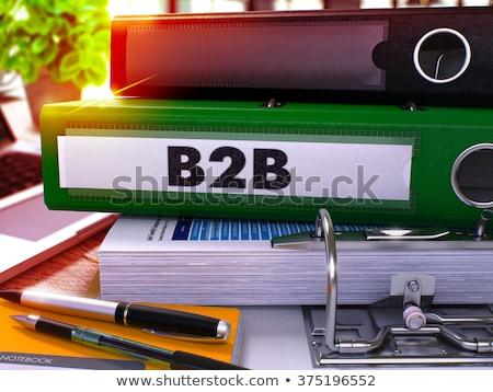 Groene kantoor map opschrift b2b desktop Stockfoto © tashatuvango